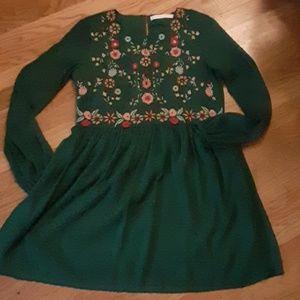 NWOT zara green dress floral